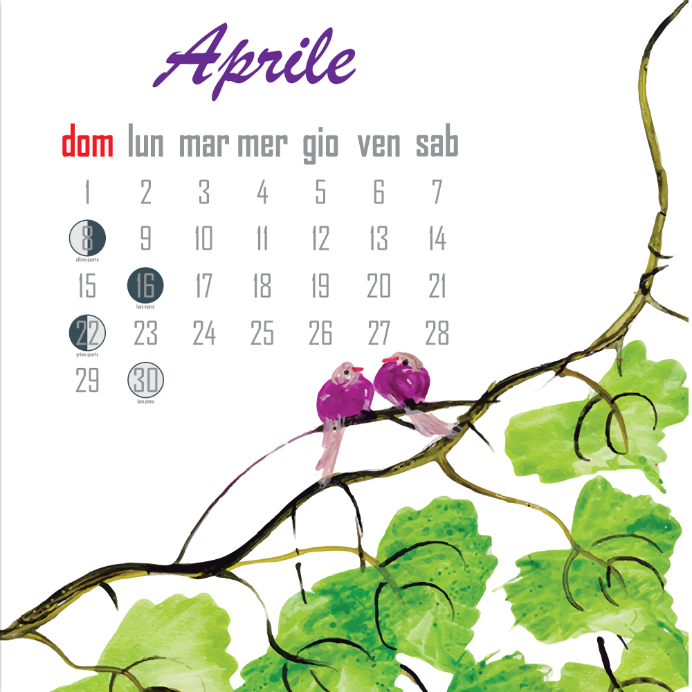calendario lunare aprile 2018