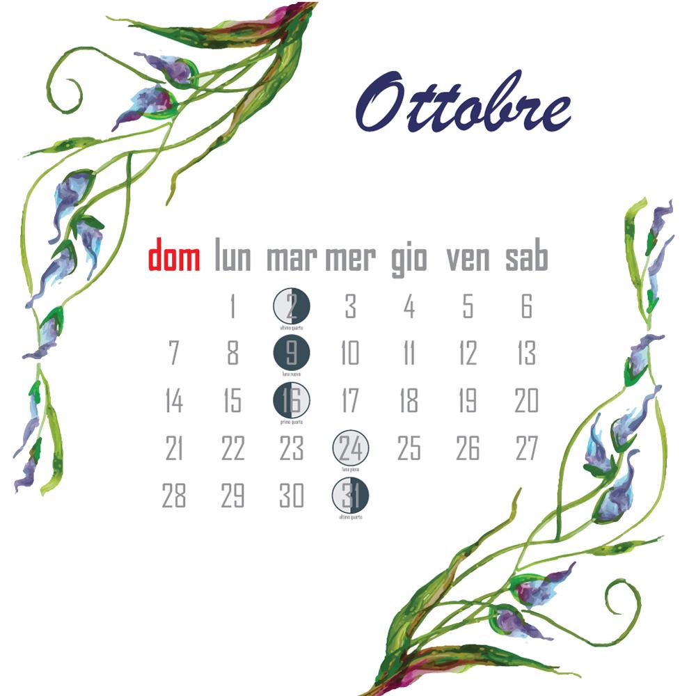 calendario lunare ottobre 2018